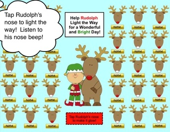 Rudolph, Reindeer, & Christmas Themed SMART Board Attendance w/ Sound and Anim.