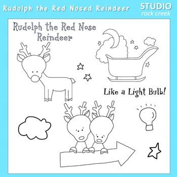 Rudolph Reindeer Line Art  C. Seslar