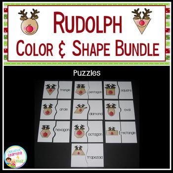 Rudolph Color & Shape SET Cut & Paste Book Memory Cards Puzzles Christmas