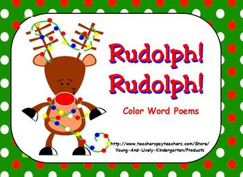 Rudolph! Rudolph! Color Word Poem Booklet