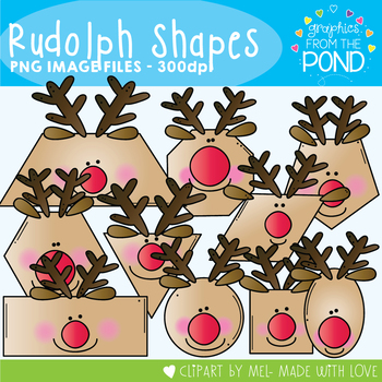 Rudolph Shapes Clipart - Combining 2D Shapes and Christmas