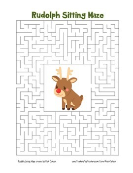 """""""Rudolph Sitting"""" Maze! Holiday FUN! (Color and Black Line)"""