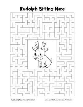 """Rudolph Sitting"" Maze! Holiday FUN! (Color and Black Line)"