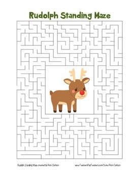 """""""Rudolph Standing"""" Maze! Holiday FUN! (Color and Black Line)"""