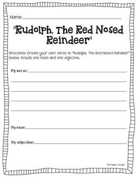 Rudolph, The Red-Nosed Reindeer Song: Nouns and Adjectives