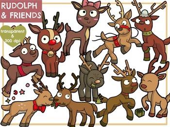 Rudolph and Reindeer Friends (Digital Clip Art)