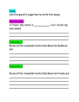 Rudolph and Frosty Character Traits and Essay /NJSLA