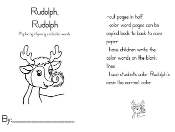 Rudolph color word and rhyming book