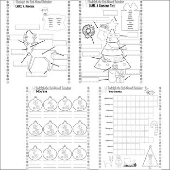 Rudolph the Red-Nosed Reindeer Christmas Activity Worksheets Spelling & Fun
