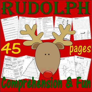 Rudolph  the Red-Nosed Reindeer Comprehension & Activity PACKET with Lined Paper