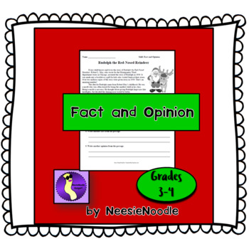 """""""Rudolph the Red-Nosed Reindeer"""" Song Fact Opinion Printable Worksheet"""