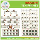Rudolph the Red Nosed Reindeer Ten Frames Clip Art