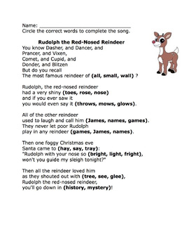 photo about Lyrics Rudolph the Red Nosed Reindeer Printable referred to as Rudolph the Crimson-nosed Reindeer - Differentiated Cloze Worksheets