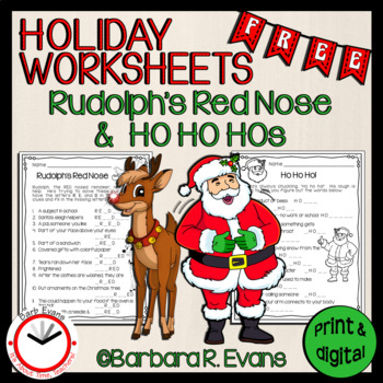 HOLIDAY WORKSHEETS: Rudolph's Red Nose and Ho Ho Hos