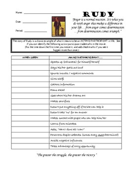 Rudy Movie Worksheet