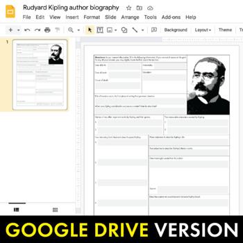 Rudyard Kipling Author Study Worksheet, Easy Biography Activity, CCSS