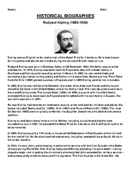 Rudyard Kipling  Biography Article and (3) Assignments
