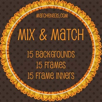 Ruffle Frame Element Pack - 15 Frames, Backgrounds and Inserts