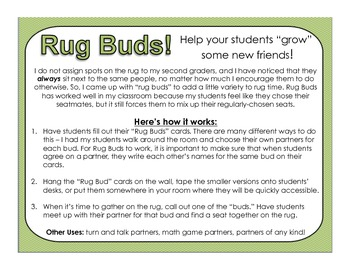 Rug Buds: Partner Cards for Mixing Up Seating During Rug Time