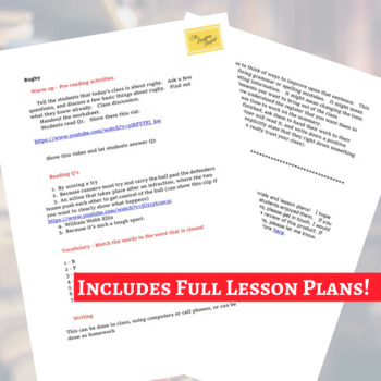 Rugby - ESL Reading w/ FULL lesson plan.  No Prep!! :)