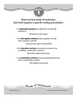 Rule 1: Four Kinds of Sentences & Punctuation