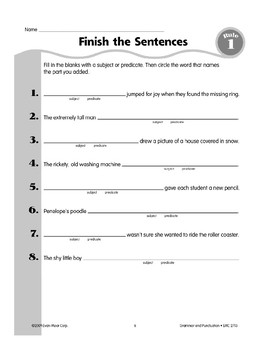 Rule 1: Parts of a Sentence