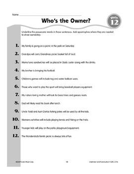 Rule 12: Possessive Nouns/Pronouns & Apostrophes