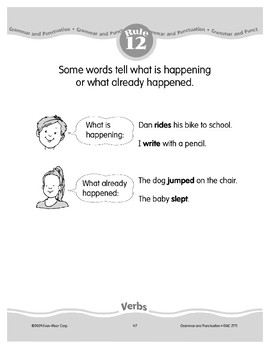 Rule 12: Verbs tell what is happening/what already happened.