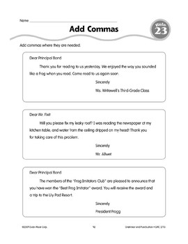 Rule 23: Comma Usage (Friendly Letters)