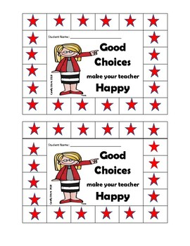 Rule # 5 - Make your teacher Happy  - Whole Brain Punch Card