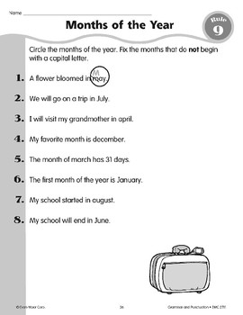 Rule 9: Proper Nouns (Months) begin with capital letters.