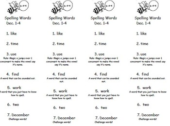 Rule Based Spelling Lists with Challenge Words -- 7 Words per List