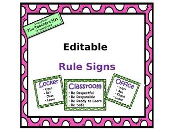 Rule Signs - Editable