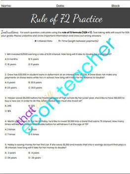 Rule of 72 Worksheet