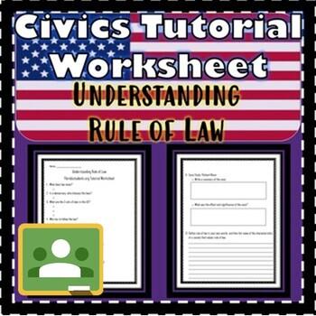 Rule of Law Tutorial Civics Tutorial Worksheet SS.7.C.1.9 ...