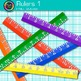 Ruler Clip Art {Rainbow Measurement Tool Graphics for Math Resources} 1