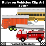 Ruler Clip Art in Centimeters, Measuring Length Metric, School Bus, Firetruck