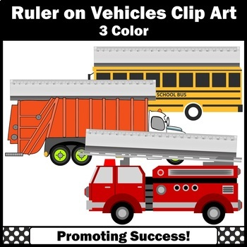 Ruler Clip Art in Centimeters, Measuring Length Metric, School Bus, Firetruck