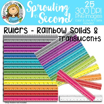 Ruler Clipart {Inches & Centimeters} - Rainbow Solids & Translucents