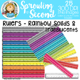 Ruler Clipart {Inches & Centimeters} - Rainbow Solids & Tr