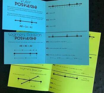 Ruler Postulate and Segment Addition Postulate (Geometry Foldable)