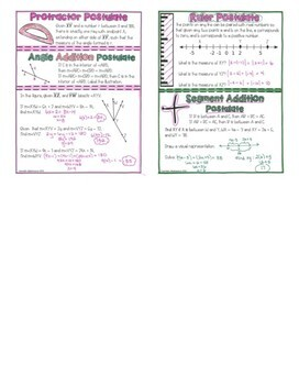 Ruler/Segment Addition, Protractor/Angle Addition Postulates Packet Doodle Notes