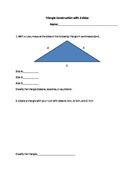 Ruler Triangle Construction and Classification Worksheet A