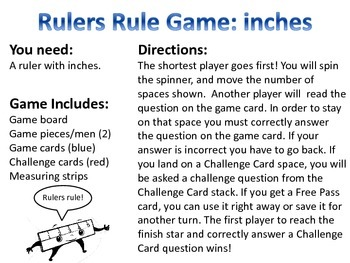 Rulers Rule! Game: Inches