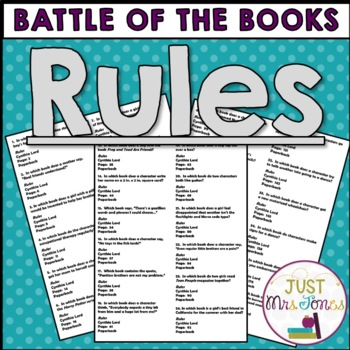 Rules Battle of the Books Trivia Questions