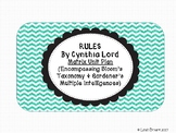 Rules By Cynthia Lord Matrix Unit Plan Various Activities and Questions