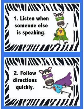 Rules Cards Zebra Super Heros