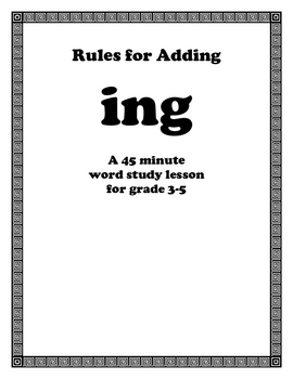 Rules For Adding ING Endins... by Live to Teach! Love to Learn ...