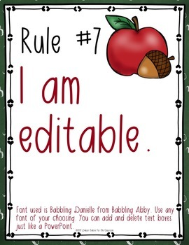 Classroom Rules EDITABLE Text - Back-to-School / Apple Decor FREE