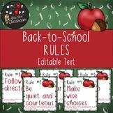 Classroom Rules EDITABLE Text - Back-to-School / Apple Decor FREE